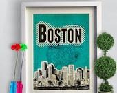Print Boston Canvas  Birthday Gift Art Skyline Poster City Green Poster print Cityscape canvas Wall Decor  giclee