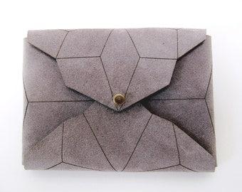 geometric leather cardholder, lasercut stonegrey suede