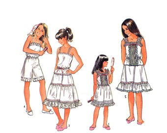 Girls Camisole, Slip and Culotte Slip Pattern Slip Dress Sundress Knickers Cami Top Simplicity 5804 Size 7 Vintage Sewing Pattern