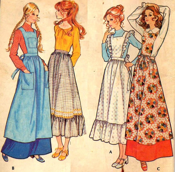 Vintage Womens Long Pinafores and Aprons Sewing Pattern McCalls 2925 Size Medium Bib Aprons