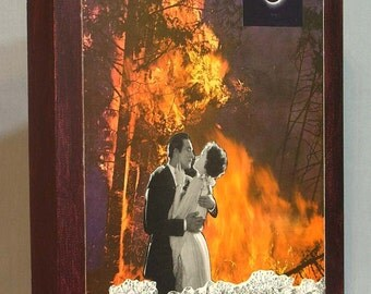 Lovers, surreal collage on panel, embrace, fire, kiss, original art, wall art