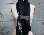 Black Linen and Leather Printed Scarf , Men's Scarves , Women's Fashion Accessories, Text,  Autumn Wraps and Shawls