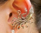Kraken Squid Ear Cuff Bronze - Kraken Earring Squid Earring - Steampunk Earring Steampunk Ear Cuff - Kraken Jewelry - Steampunk Jewelry