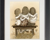 Lean On Me - archival watercolor print by Tracy Lizotte