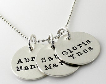 Three Disc Mother's Necklace - hand stamped and personalized sterling silver necklace with Typewriter font