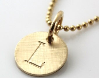 Gold Filled Initial Necklace - Personalized Gold Filled Initial hand stamped necklace with brushed finish