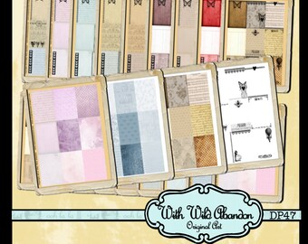 ACEO Backgrounds or ATC BAckgrounds Kit with Romantic Overlay Digital Printable Instant Download, wallet card, journal, hang tag
