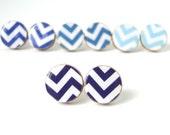 Navy Chevron Earrings - Geometric Jewelry - Wood Earrings - Made to Order - Gift Under 10 - Navy Stud Earrings - Zig Zag