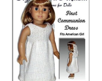 Knitting Pattern for Communion Dress, fits American Girl Doll and 18 in. dolls. Instant Download 107