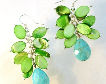 Breath  of Spring Turquoise and Green Shell Earrings