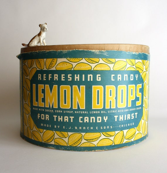 Vintage E. J. Brach and Sons Lemon Drops Large Round Box