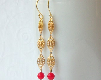 Vintage Red  Dangle Earrings, Eco-Friendly Jewelry by Perini