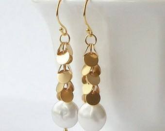 Pearl Dangle Earrings, Pearl Dangle Drop Earrings
