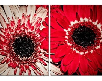 Two Toned Daisies Bold Red & White Canvas Diptych, 2 Panel Art, LARGE, Ready to Hang