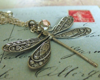 DRAGONFLY NECKLACE SILVER dragonfly jewelry dragonfly pendant silver dragonfly dragonflies insect jewelry dragon fly nature jewelry vintage