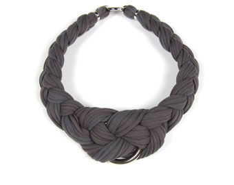 Statement Necklace, Gray Choker, African Neckpiece, Gray Braided Necklace, Braid Necklace Gray, Gray Tribal Jewelry, Tribal Necklace,
