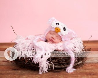 Baby Girls Owl Hat & Diaper Cover SET Newborn 3m Crochet Soft Fuzzy Pink Hat Photo Prop Animal Baby Girls Clothes  Perfect year round