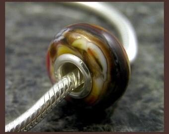 Handmade Lampwork European Charm Bracelet Bead with Sterling Silver Rivets - big hole bead - large hole bead - OOAK - BD232