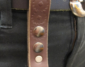 Steampunk Leather keychain utility loop with embossed cog pattern
