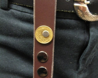 Steampunk Leather keychain utility loop with an old french coin