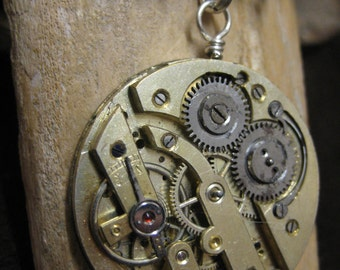 Steampunk Large vintage winding watch movement pendant on adjustable wire necklace