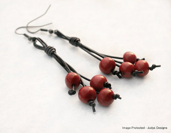 Red acai earrings - organic earrings - leather beaded earrings - eco friendly earrings - boho earrings