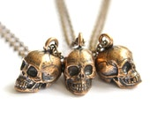 Triple Human Skull Necklace Cluster in Solid Bronze Skull Combination Necklace 232