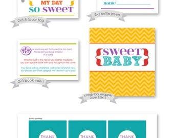 Printable Party Pack - Rainbow Baby Shower - DIY INSTANT digital download - colorful words, gender neutral, coed