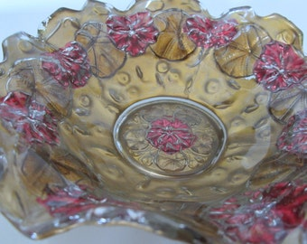 Antique Flower Goofus Bowl Red Gold Leaves Ruffle Crimped Rare Pattern