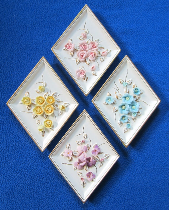 Lefton Flower Wall Hanging Plaque Diamond Capodimonte By Ddb7