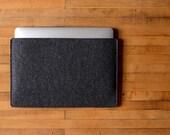 Simple MacBook Air Sleeve - Charcoal Felt - Long Side Opening