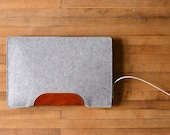 MacBook Air Sleeve - Grey Wool Felt with Brown Leather