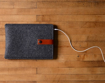 iPad Mini Sleeve - Charcoal Felt and Brown Leather