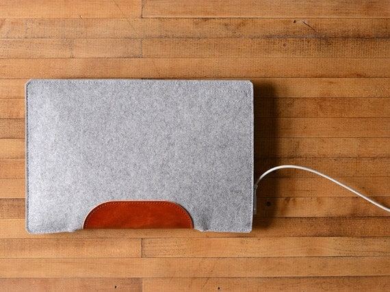 "MacBook Air / MacBook Laptop Sleeve - Grey Felt and Brown Leather Patch - Short Side Opening - 12"" MacBook, 11"" MacBook Air, 13"" MacBook Air"
