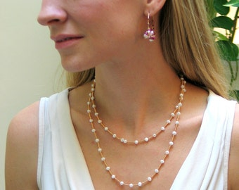 White Freshwater Pearl Layering Chain, Long Pearl Necklace Beaded in Gold or Silver, Fashion Pearls, Wrap Cuff