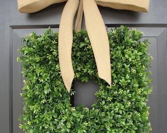 Square Boxwood Wreath Burlap Bow- Spring Wreath- Outdoor Wedding Decor- Burlap Ribbon- Summer Wreath- Housewarming Gift- 14 INCH