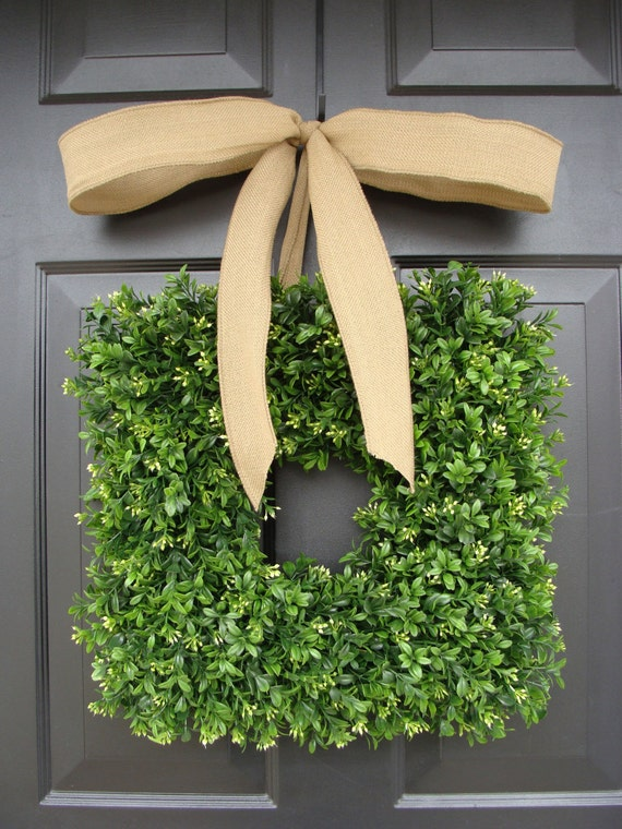 Square Boxwood Wreath Burlap Bow- Spring Wreath- Outdoor Wedding Decor- Burlap Ribbon- Summer Wreath- Housewarming Gift- 14 INCH