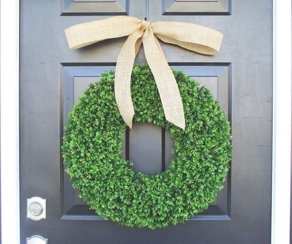 Artificial Boxwood Wreath- Spring Wreath- Door Wreath- Year Round Wreath- Spring Decor- Burlap Bow- Fall Wreath