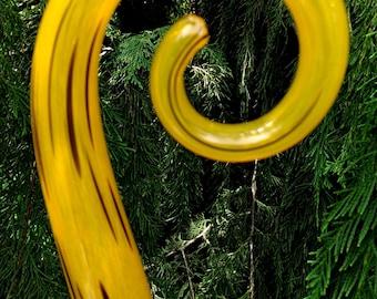 Hand Blown glass Fiddlestick - Mandarin orange and black (small)