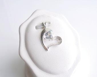 White Topaz Heart Pendant Sterling Silver April Birthstone 6mm