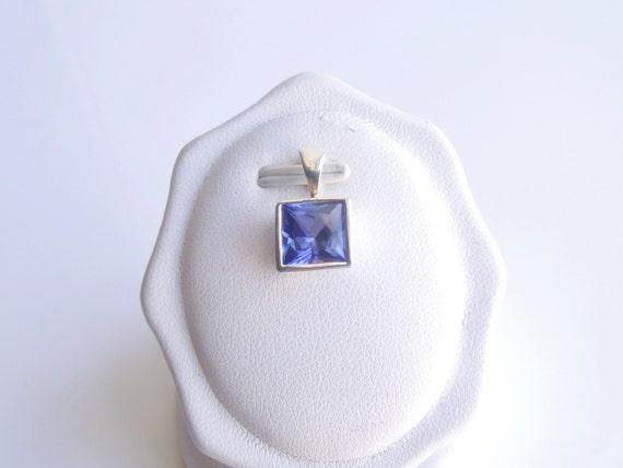 Blue Sapphire Bezel Square Pendant 8mm On Sale
