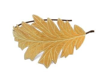 Oak Leaf Headband- Sunglow Yellow with Maize Embroidery