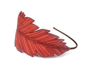 Feather Headband- Fashionably Unique Silk Fabric Feather- Flame Orange with Rust, Orange, and Fuchsia Rose Embroidery