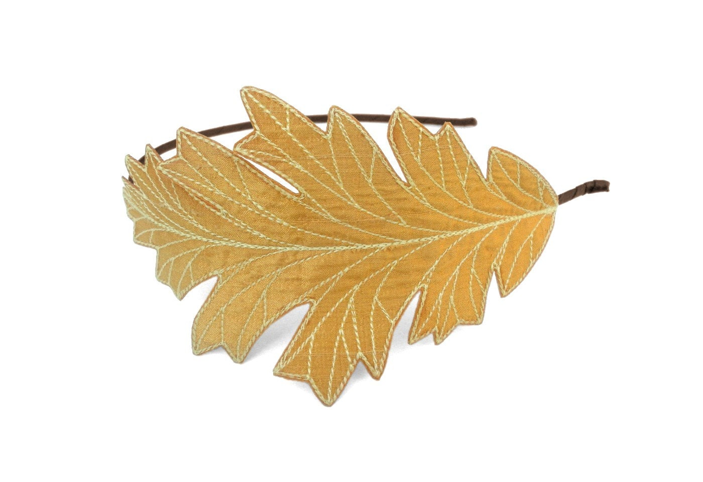 Oak leaf headband sunglow yellow with maize embroidery
