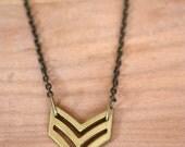 Natural Brass Chevron Necklace