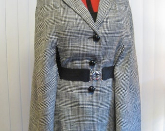 1960s Mod Sophisticate Black and White Plaid Raw Silk or Linen Cape