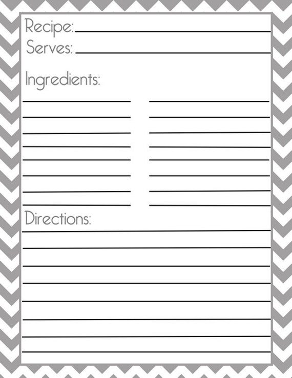 Chevron gray recipe page and filler page for Full page recipe template for word