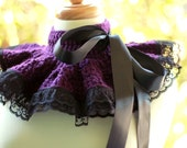 Neck Warmer Ruffle Collar - Plum with Black Lace