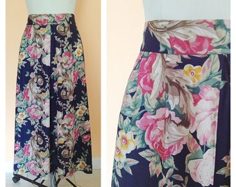 Vintage Navy Floral Skirt. Long Skirt. Size 10. Soft. Summer. Casual. Straight Skirt. Ankle Length. Pink. Yellow. Green. Woodland. 1980s.