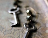 Lair. Antique Skeleton Key and Faceted Pyrite Earrings. - cloven